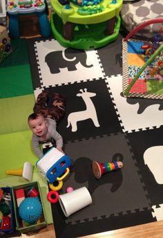 "Amazon.com - SoftTiles Safari Animals Foam Play Mat w/sloped borders (Black, Gray, White) Large Play Mat 78"" x 78"" #playroom #blackandwhite #kidsdecor"