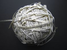 Ann Hamilton - ball wound from strips of text, book, wood and glass vitrine 15 with 4 Artist's Proofs Published in 1994 by Sean Kelly Gallery, New York 12 ½ × 28 ½ × 5 ½ inches / × × 14 cm (vitrine) Collages, Ann Hamilton, Book Libros, Poesia Visual, Folded Book Art, Book Folding, Book Sculpture, Paper Sculptures, Bokashi