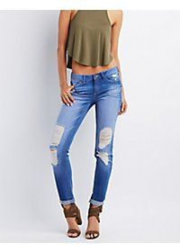 Destroyed Denim Boyfriend Jeans, Cropped Top & Shoes