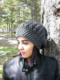Womens hat Crochet Hat Slouch Hat Crochet Beanie by Ebruk