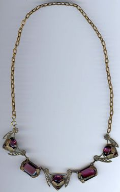 VINTAGE 1940'S FANCY BRASS AND PURPLE FACETED GLASS CZECH NECKLACE  #Pendant