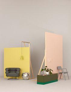 Set the scene with pastel backdrops. // Made in Germany Jonas von der Hude Display Design, Booth Design, Set Design, Restaurant Design, Home Goods Wall Decor, Deco Studio, Interior Styling, Interior Design, Interior Ideas