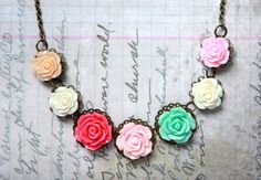 Rose Bib Necklace pretty flower gift by AnnaOwensPhotography