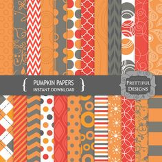 Digital Paper Pack  - Personal and Commercial Use - Pumpkin (775)