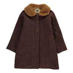 Babe & Tess Wool Coat with Faux Fur Collar-product