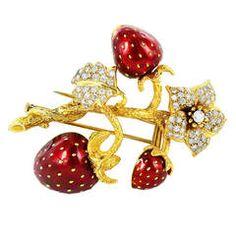 Enamel Diamond Gold Strawberry Brooch