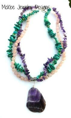 Chunky gemstone necklace. Amethyst, turquoise, and pink rose quartz and sterling silver. McKee Jewelry Designs