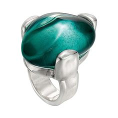 Unode50 Women's Sterling Silver & Oval Resin Cocktail Ring - Green,... ($59) ❤ liked on Polyvore featuring jewelry, rings, green, unode50, green jewellery, oval ring, sterling silver rings and resin rings