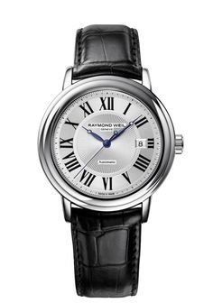Maestro 2847-STC-00659 Mens Watches - Automatic date Steel on leather strap black Roman numerals http://www.raymond-weil.com/en/mens-watches/watch-finder/maestro/maestro-2847-stc-00659/
