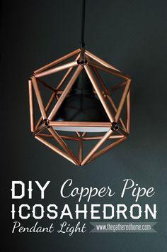 Monte uma elegante luminária pendente usando cano de cobre. | 35 projetos DIY absolutamente impressionantes