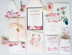 Rose inspired floral invitation suite with liner, and custom wax seal by Honey Paper