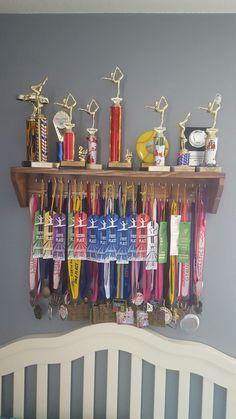 Gymnastics medal hanger Baseball Decorations, Medal Hangers, Trophy Shelf, Kids Rooms, Girls Bedroom, Gymnastics, Awards, Shelves, Studio