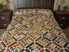 Dutchmans Puzzle Quilt -- gorgeous smartly made Amish Quilts from Lancaster (hs6778)