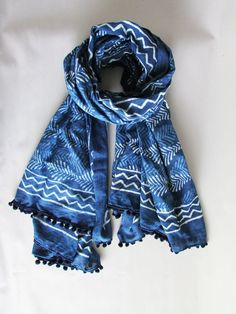 BLOCK PRINTED OVER SIZED SCARF / LARGE SARONG NOW £25 Uk Fashion, Ethical Fashion, The Beach People, Indigo Colour, Woven Scarves, Shibori, Summer Collection, Sustainable Fashion, Style Inspiration