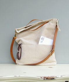 Modern Messenger Bag Buttercream by MondayMorningStudios on Etsy