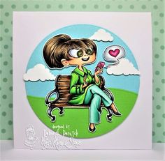 STAMP NAME:    Social Sally!    ARTIST:    Annie Rodrigue    SIZE:    4x4 Inch    MATERIAL:    Clear Photopolymer    DESCRIPTION:    One gorgeous main image and  SIX fun sentiments!    MORE INFO:    Does Sally remind you of anyone?!