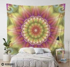 Beauty Mandala Wall Tapestry in Pink and Yellow by Kelly Dietrich