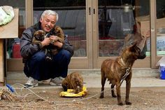 "‎Naoto Matsumura, Guardian of Fukushima's Animals, a true hero!  Only he remains he remains in the zone, no electricity and running water and braving the loneliness and the constant threat of exposure to elevated levels of radiation to feed a menagerie of animals. ""We couldn't take the animals with us, so I stayed"" After a year, Mr Matsumura, 52, appears to prefer the company of his animals to humans. ""I don't get bored,"" he says. ""I am used to it, and there are lots of animals."
