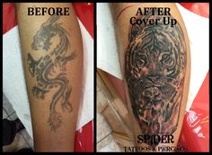 TATTOOS BY SPIDER www.facebook.com/NeedlesInk BEFORE & AFTER COVER UP Cover Up Dragon with Tiger  Tattoo Artist : Spider