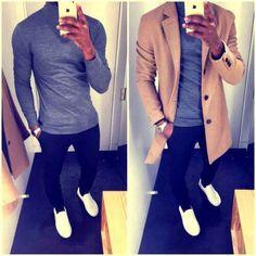 Casual man style : grey turtleneck, black jeans, white sneakers & beige coat