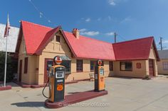 The Route 66 Visitors' Center in Baxter Springs occupies a gasoline station which sold Phillips Petroleum products until In the property was restored to its appearance. Old Route 66, Route 66 Road Trip, Historic Route 66, Travel Route, Us Road Trip, New Travel, Old Gas Stations, Filling Station, Home On The Range