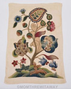 Antique JACOBEAN Tudor TREE of LIFE CREWEL Embroidery Needlework FLORAL Stag
