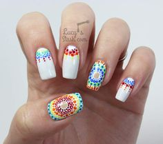 manicure - Rainbow Dotticure with Rimmel Polishes Inspired by. Super Cute Nails, Great Nails, Cute Nail Art, Fabulous Nails, Perfect Nails, Love Nails, My Nails, Nail Polish Designs, Cute Nail Designs