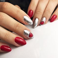 18 Red Nails Designs for Any Occasion ★ Bright Glitter Red Nails Designs Picture 3 ★ See more: http://glaminati.com/red-nails-designs/ #rednails #rednaildesigns