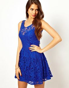 Image 2 ofJohn Zack Skater Dress In Lace With Open Back