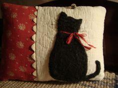 Antique quilt black cat pillow
