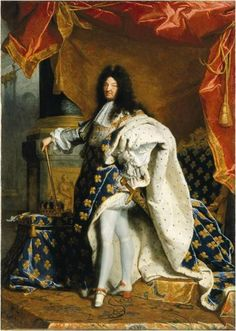 Here is The Sun King, Louis XIV, radiating the glory of the monarchy in his gorgeous Blue, Gold and White ceremonial cape. It is covered with the Fleur de Lis of the Bourbon dynasty, while the interior is lined with ermine—every black dot the tip of a single animal's tail.  Painting by Hyacinthe Rigaud in early 1700s.