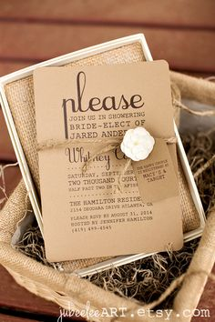 rustic elegant bridal shower printable invitation. kraft paper & jute twine. #bridalshower #weddinginvitation