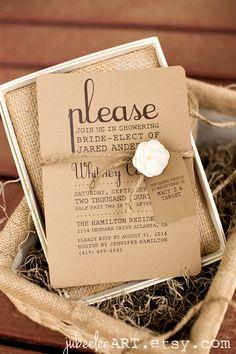 Rustic elegant bridal shower printable invitation with registry tag twine and kraft paper