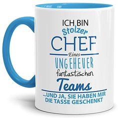 a1081567b9a Tasse mit Spruch Chef Innen und Henkel Blau – Kaffeetasse/Mug/Cup – Qualität