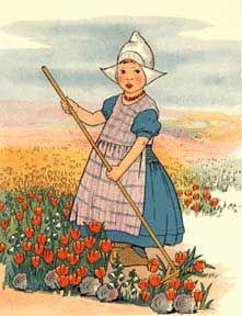Dutch Girl and Tulips.....Artist: Mary Audubon Post 1910