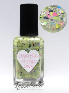 Love the Mother Love is a symphony of spring greens accented with white, pink, aqua and black in a translucent light green pink- and green-shimmered base.