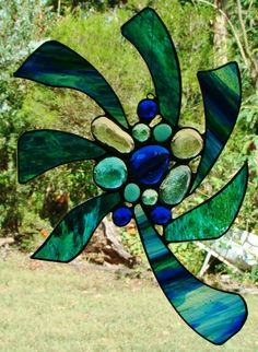Christmas Abstract 'BLUE NEBULA' Suncatcher StainedGlass UNIQUE Leadlight GIFTS $69