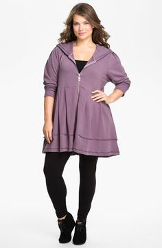 Pink Lotus Pleated Tunic Hoodie, $98. Similar to Prairie Underground, but cheaper and up to size 3X!