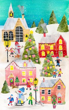 Winter Village by Tracey English Cut paper collage Christmas Bird, Christmas Icons, Christmas Drawing, Christmas Paper, Winter Christmas, Christmas Festival Drawing, Winter Illustration, Collage Illustration, Christmas Illustration