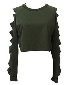 Women Solid Short Hoodie Long Sleeve Shirt Sport Baggy Sweatshirt Crop Top Tunic