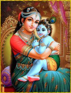 ☀ YASOMATINANDANA KRISHNA ☀ Artist: C.Vishnu http://www.krishnalilas.com/ Hare…