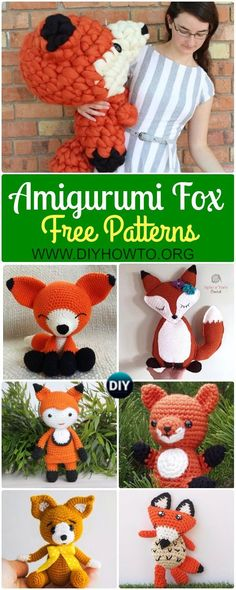 Collection of Crochet Amigurumi Fox Free Patterns & Tutorials: Amigurumi Fox Toys Softies, sleepy fox, walking fox, sitting fox, fox doll, ragdoll fox via @diyhowto