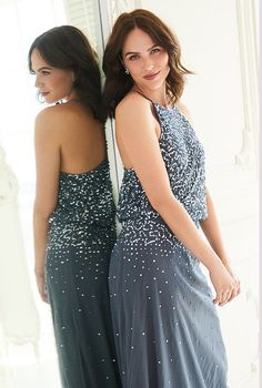 A gorgeous sequin bridesmaid dress featuring scattered jewels and a floor sweeping skirt Sequin Bridesmaid Dresses, Beautiful Bridesmaid Dresses, Prom Dresses, Formal Dresses, Bridesmaids, Ava, Cool Outfits, Sequins, Nice Clothes