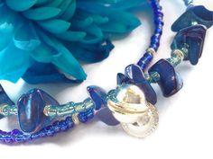 Pacific waves blue beaded jingle ankle bracelet by PinkCupcakeJC, $12.00
