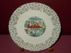 Vintage USA Porcelain China NORTH CAROLINA STATE COLLECTOR PLATE 22 K Trim