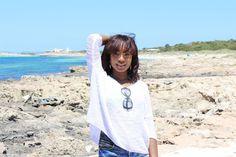White shirt, blue sea #fashion #ootd #beachwear #ibiza