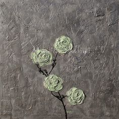 Paintings by Monica Fallini: Antique Roses, acrylic floral art by contemporary ...