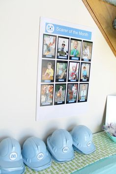 Monsters inc party. this can be cute for Ichi's 1st Birthday. I love the scarer of the month pictures. it can be 0-12 months.