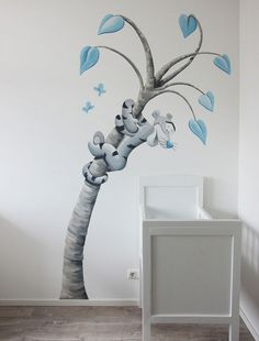 Muurschildering Tijgertje in een fantasie boom door BIM Muurschildering. Tigger in a tree, Winnie the Pooh mural painting Baby Room Themes, Baby Boy Rooms, Baby Bedroom, Baby Room Decor, Nursery Themes, Nursery Room, Nursery Wall Art, Wall Decor, Disney Baby Rooms