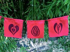 Yoni Prayer Flags for Diversity & Beauty red silk by YoniBeauty